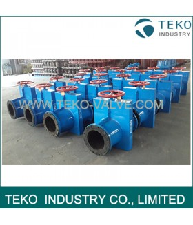 Fabricated Carbon Steel WCB Bi-directional Seal Slurry Pinch Valve With Epoxy Coating